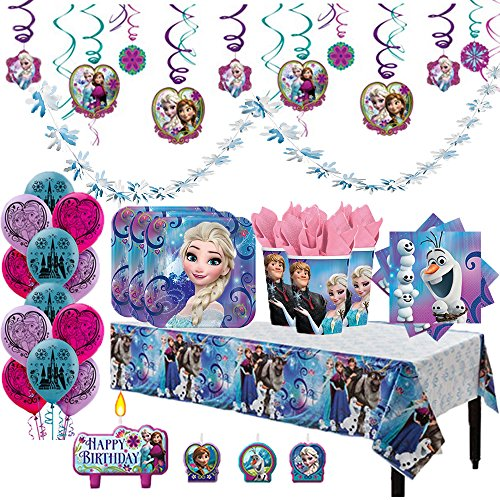 Disney Frozen Deluxe MEGA Birthday Party Supplies Pack and Decorations for 16 includes Plates, Napkins, Cups, a Table Cover, a Candle, Swirl Decorations, Balloons, and a Snowflake (Snowflake Plates And Cups)