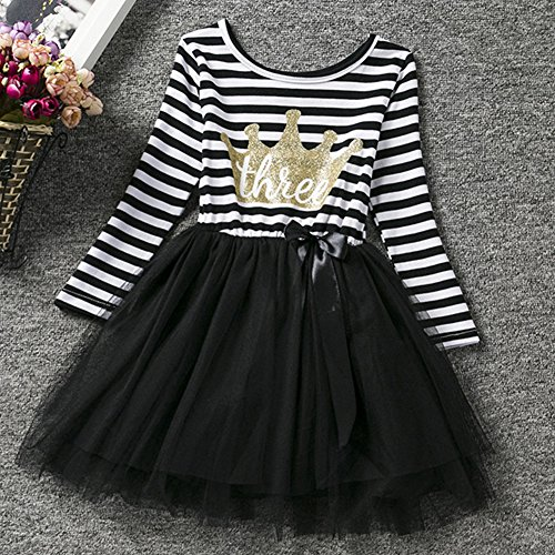 FYMNSI Baby Girls 1st//2nd//3rd Birthday Cake Smash Princess Long Sleeve Striped Dress