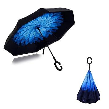 Plegado Reversible A Prueba De Viento Paraguas Invertido De Doble Capa Con Manija En Forma De