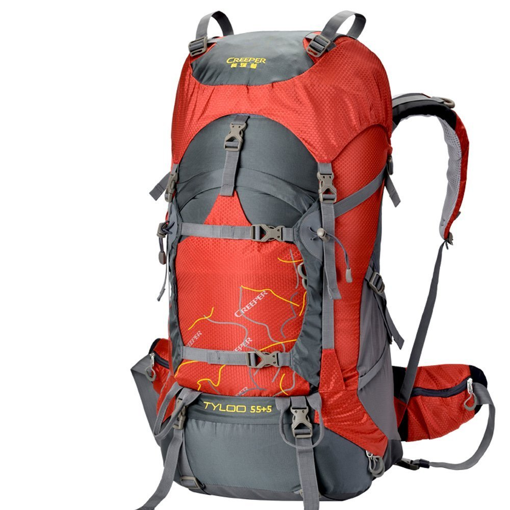 Creeper Outdoor Sports Camping Hiking Waterproof Backpack Daypacks Mountaineering Bag 50L 60L 70L Travel Trekking Rucksack with Rain Cover (Red, 60L)
