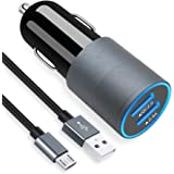 Micro USB Fast Car Charger Compatible for Samsung Galaxy S7/S6/Edge/Active/5/4, Note 5/4, J7/3/2, A10, Moto G5/4, Z2, LG…