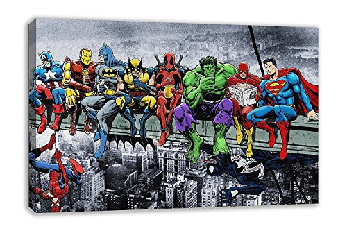 MARVEL DC COMIC SUPERHEROES GIRDER LUNCH ATOP SKYSCRAPER CANVAS ART (44