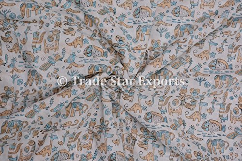3 Yard Hand Block Printed Fabric, Cotton Voile Animal Print Fabrics for Kids, Running Natural Dye Sanganeri Indian Fabric By the Yard Width: 44 Inches (Pattern 7)