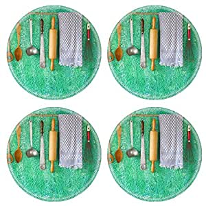 Luxlady Natural Rubber Round Coasters IMAGE ID 38984198 Wedding Chairs Decorated With White Bows At Outdoor Cafe