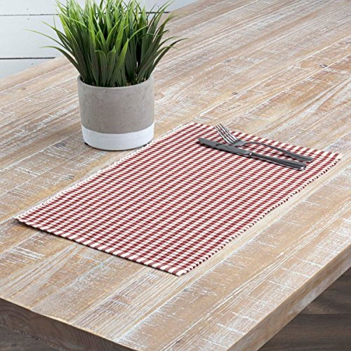 Season Placemat (6 Piece Rust Orange Gingham Plaid Pattern Placemats Set, Elegant Checkered Stripes Ribbed Design Place Mats, For Christmas Winter Season Dinner, Soft & Durable, Recrectangle Shape, Cotton)