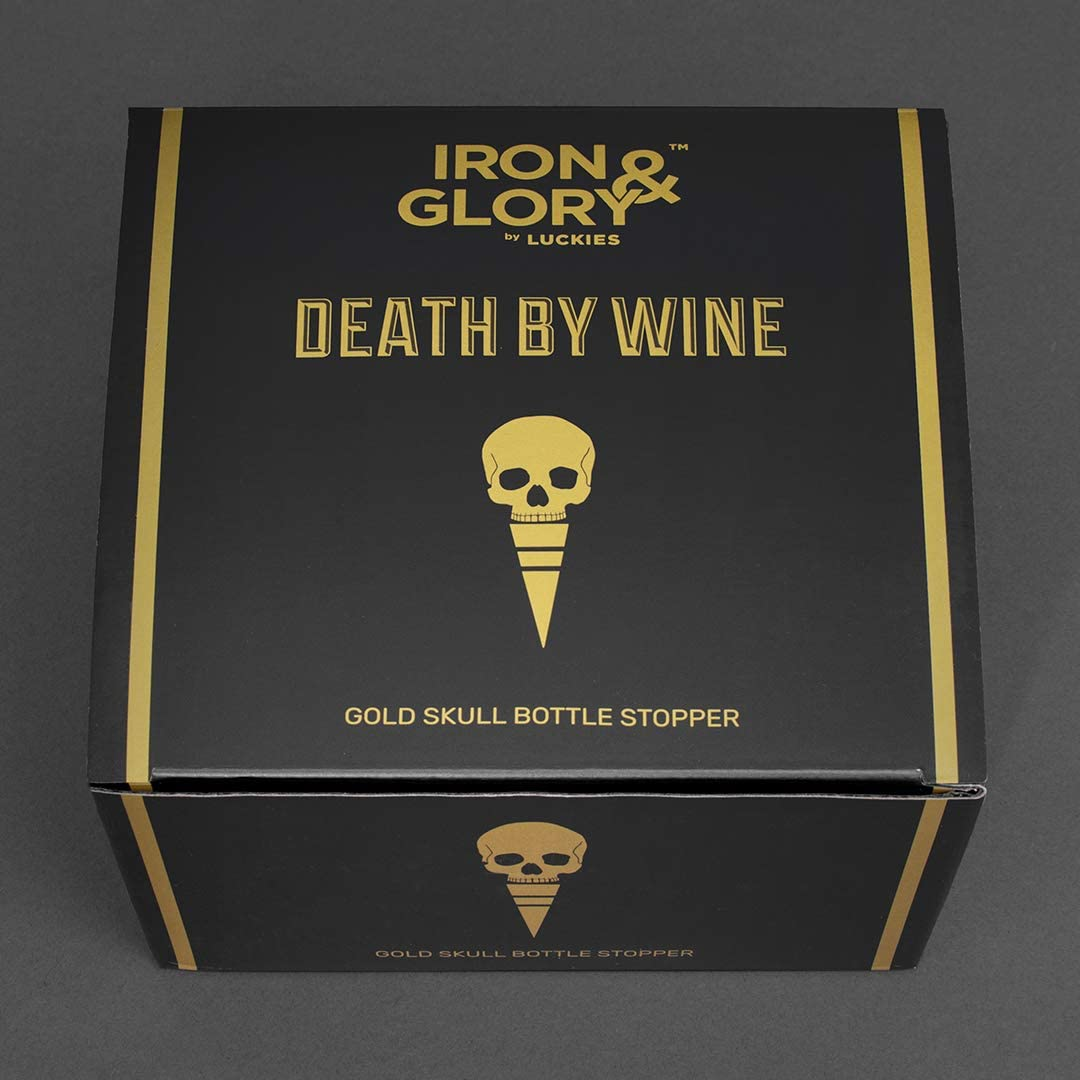 Black Iron and Glory Skull Wine Stopper Decorative Bottle Stopper to Preserve Wine and Beverages with Airtight Rubber Seal