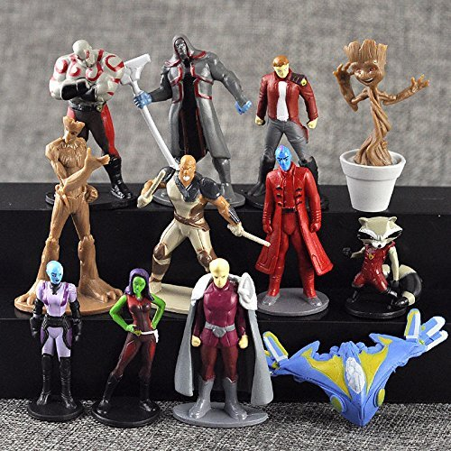 Marvel Guardians of the Galaxy Vol. 2 Action Figures | 12 pcs Set Toys Cake Topper | FREE Assorted stickers by ToysOutletUSA