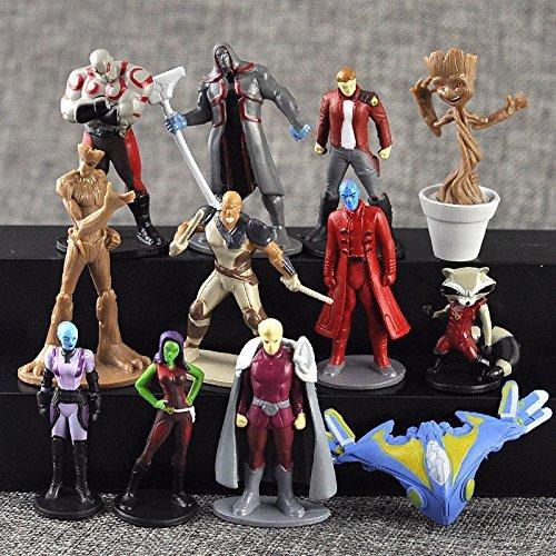 Marvel Guardians of the Galaxy Vol. 2 Action Figures | 12 pcs Set Toys Cake Topper | FREE Assorted stickers by ToysOutletUSA  (Los Guardianes De La Galaxia Vol 2)