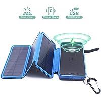 Wireless Powerbank Solar 20000mAh Kabellose Externer Akku 2 Ausgänge (2 USB 2.1A & Kabellose 1A) Solar Induktions Ladegerät 2 Input(3 Solar Panels & USB) LED & Haken für iPhone Samsung Smartphone