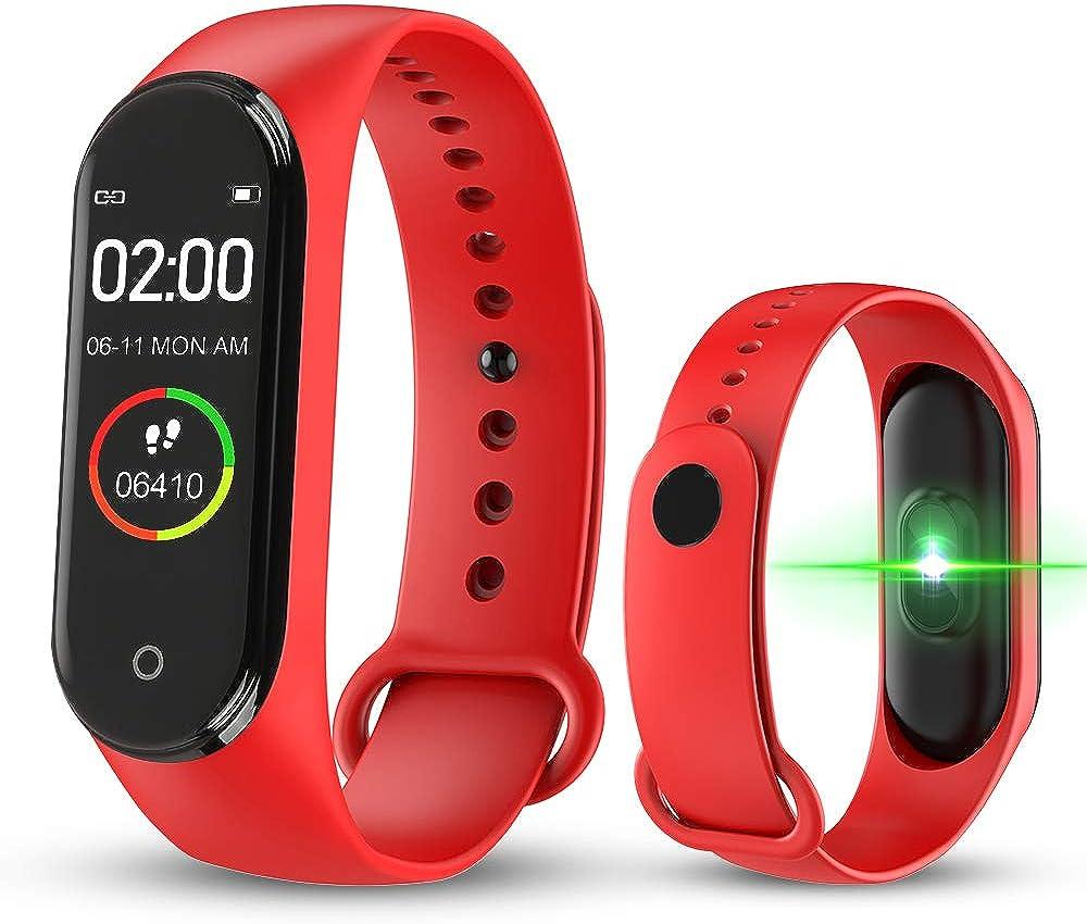 bqlove M4 Fitness Tracker, Reloj De Seguimiento De Actividad con Monitor De Ritmo CardíAco, Banda De Fitness Inteligente Resistente Al Agua con Contador De Pasos para NiñOs Mujeres Hombres