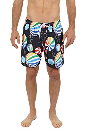 58b747b2390 UZZI Dry Fast Microfiber Swim Shorts with Lining Beach Balls Design (S,  Black)