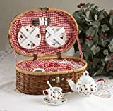 Delton Products Cherry Dollies Tea Set in Basket, Red, Large