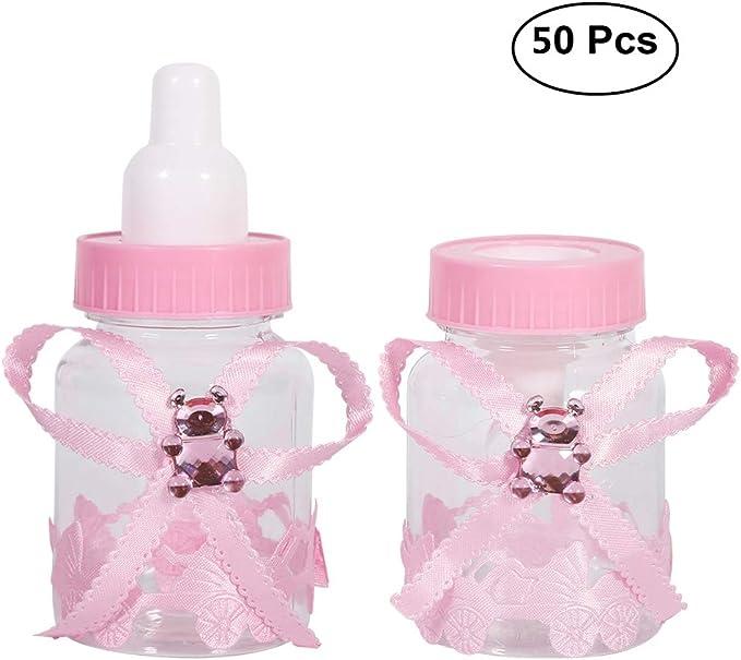 50pcs Estilo de la Botella de Caramelo de Caja de Dulces para Nacimiento Bautizo Bautismo Cumpleaños Bebé Decoraciones (Rosa): Amazon.es: Juguetes y juegos