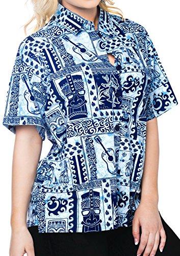 bot�n superior ocasional ropa de playa camisa de vestir de manga corta blusa abajo cubren hasta el tanque de las mujeres de las se�oras Azul