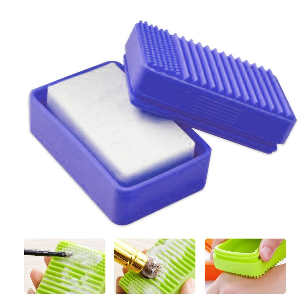 Aolvo Self Draining Soap Dish, Rectangle Shower Soap Holder Box, Multi-functional Soap Tray Container Case with Soft Silicone Bristles for Kitchen Bathroom Shower Home Outdoor Travel - Blue