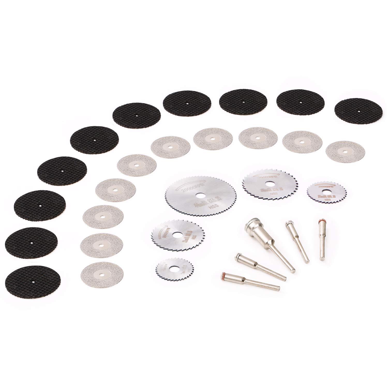 GOXAWEE HSS hojas de sierra Circular herramienta rotarios & Discos Corte Diamante Rotatorio & Resina discos de corte de rueda cortados Para cortar metal madera piedra - Paquete de 30 piezas 3091