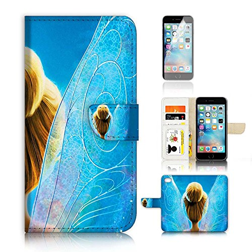 ( For iPhone 6 Plus / iPhone 6S Plus ) Flip Wallet Case Cover & Screen Protector Bundle! A20450 TinkerBell