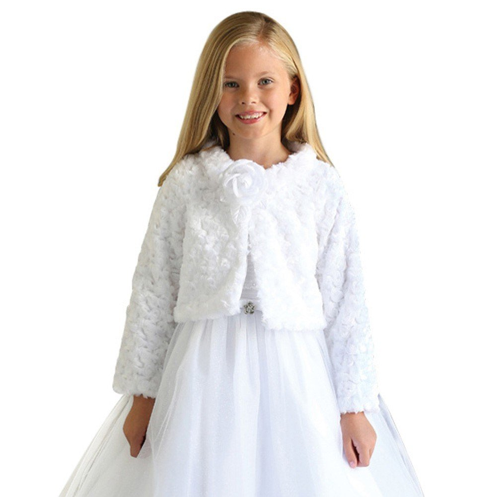 Angels Garment Big Girls White Removable Flower Soft Long Sleeve Bolero 8