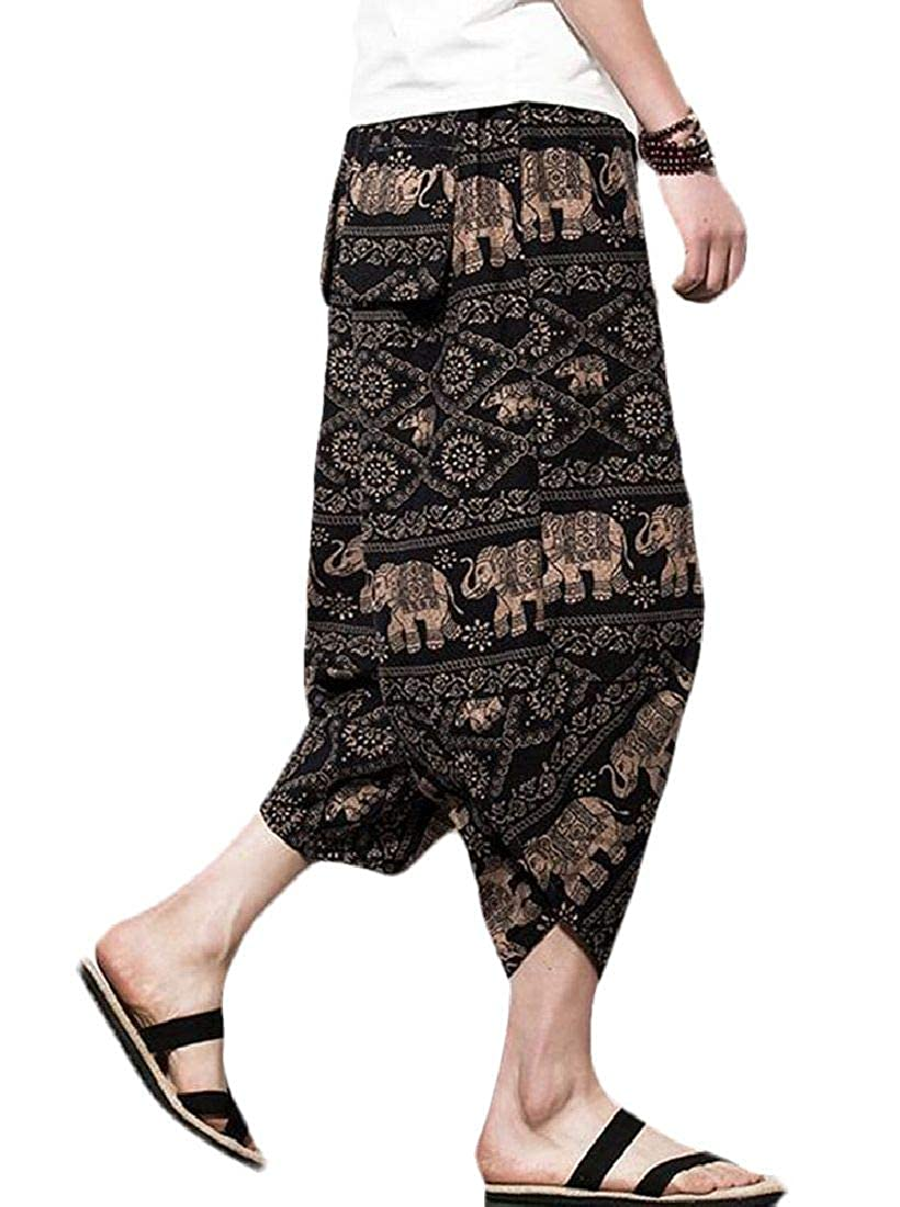 Domple Men Printed Big /& Tall Harem Cropped Pants Ethnic Beach Board Swim Trunk