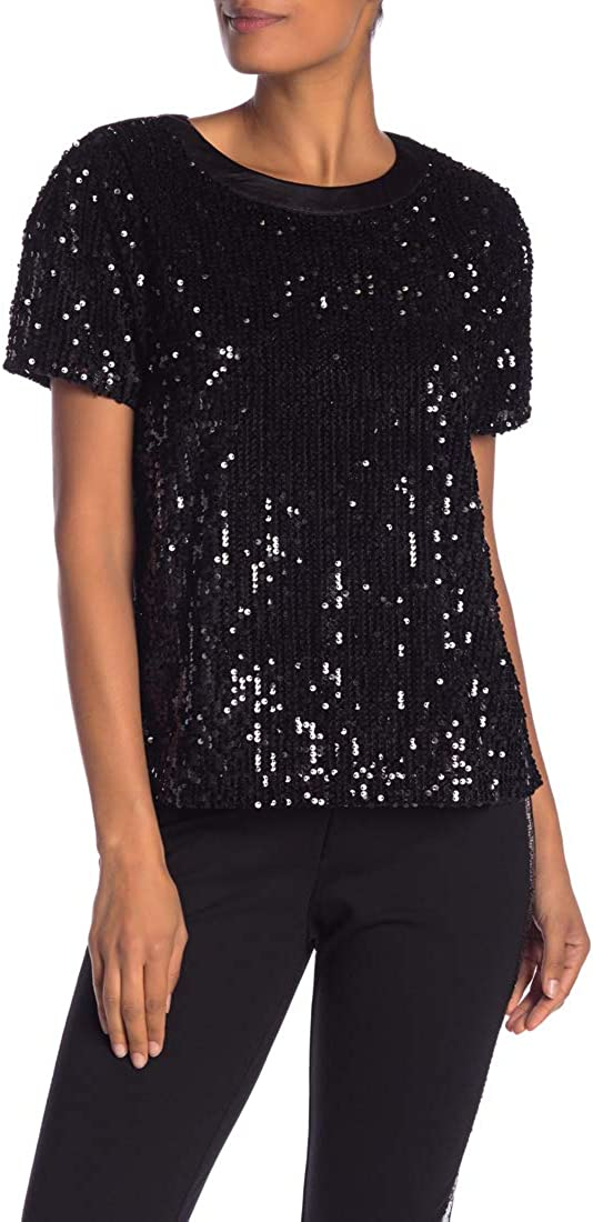 Laundry by Shelli Segal Women's Short Sleeve Sequin Top Blouse