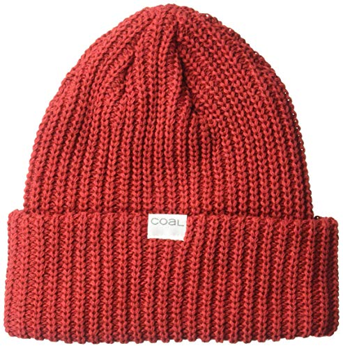 Coal Men's The Eddie Recycled Rib Knit Beanie Hat, red, Mid Length
