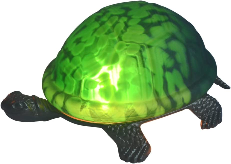 NOSHY Premium Tiffany Style A-002 Turtle/Tortoise Table/Accent Lamps/Night Lights, 8-Inch Length, 1-E12 Cap, Green Color, Pack of 1
