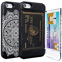 iPhone SE Case, TORU [iPhone SE Wallet Case Pattern Mandala] Protective Slim Fit Dual Layer Hidden Credit Card Holder ID Slot Card Case with Mirror for iPhone SE / iPhone 5S / iPhone 5 - Dreamcatcher