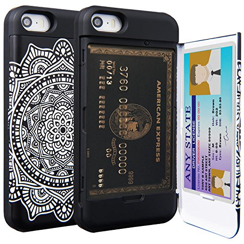 iPhone SE Case, TORU Protective Slim Fit Dual Layer Hidden Credit Card Holder ID Slot Card Case with Mirror for iPhone SE / iPhone 5S / iPhone 5 - Dreamcatcher