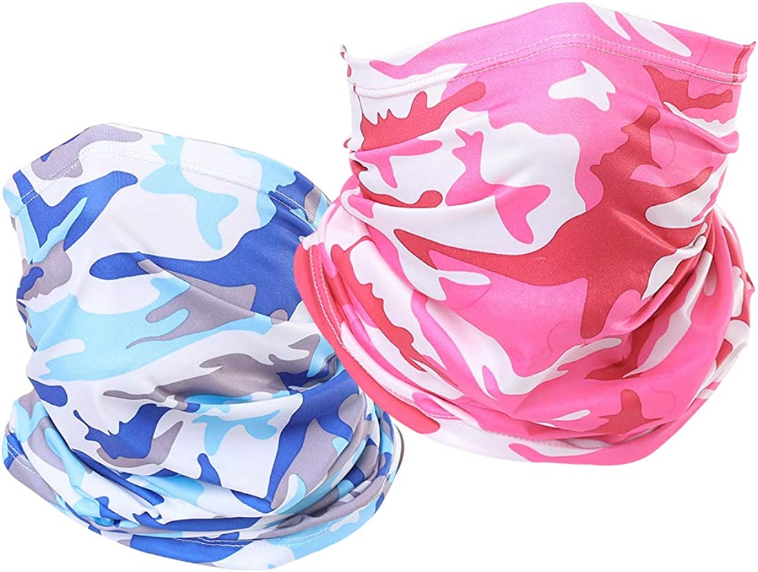 CHICONN Sun Block Neck Scarf Bandanas for Dust Women Men 2Pack Camo Pink & Air force Army Blue Camouflage Unisex Rave Cooling Face Mask Fishing,Outdoors,Festivals,Sports,Ski,Cycling