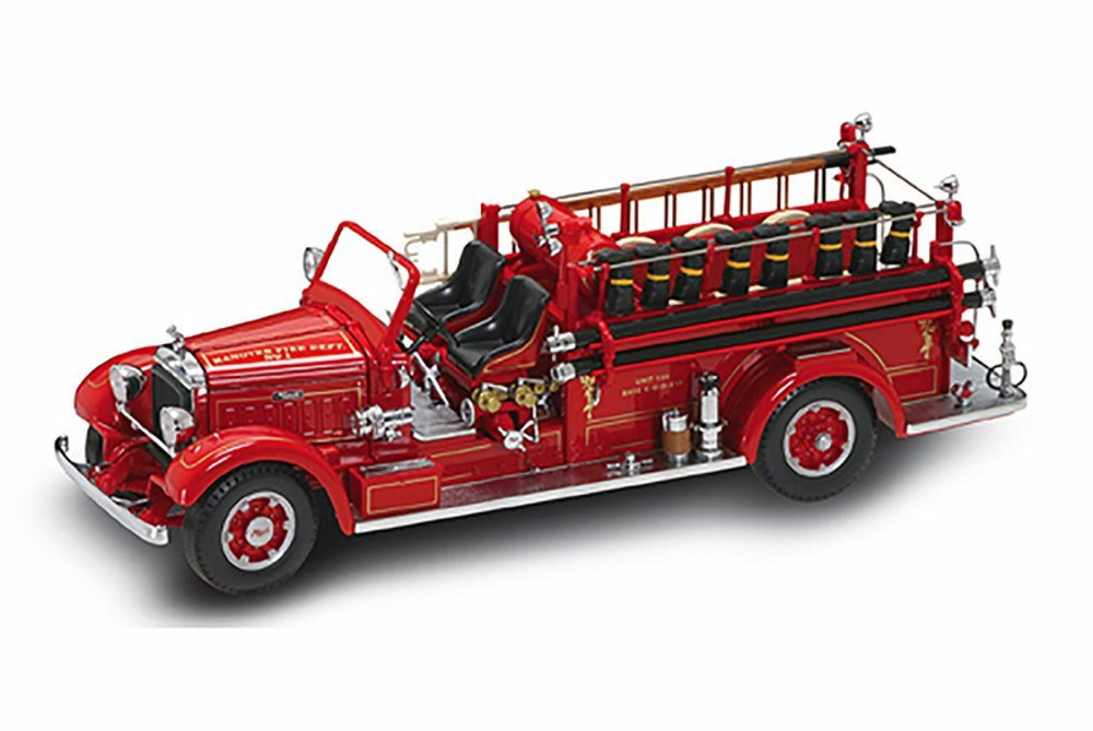 1935 Mack Type 75BX Fire Truck, Red - Road Signature 20098 - 1/24 Scale Collectible Diecast Model