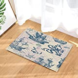 GoHeBe Nautical Wooden Ship Anchored Octopus in Vintage Bath Rugs Non-Slip Doormat Floor Entryways Outdoor Indoor Front Door Mat Kids Bath Mat 15.7x23.13in Bathroom Accessories