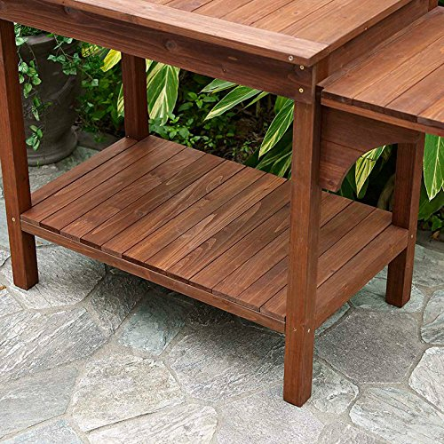 Garden Potting Bench with Storage Shelf Wood Outdoor Large Work Table plans Gardening Planting Station- Brown by Coral Coast (Image #3)