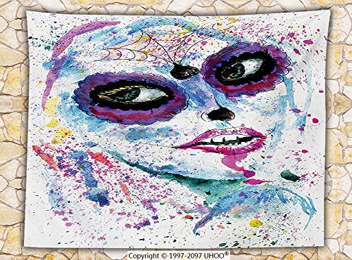 Girly Decor Fleece Throw Blanket Grunge Halloween Lady with Sugar Skull Make Up Creepy Dead Face Gothic Woman Artsy Print (Girly Makeup For Halloween)