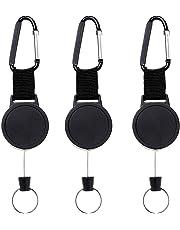 FOGAWA 3 Llavero Retractil Cadena Mosquetón de Carrete Heavy Duty con Cuerda Cable de Alambre Acero Extensible para Tarjeta ID Card 63cm / 24.8pulgada Negro