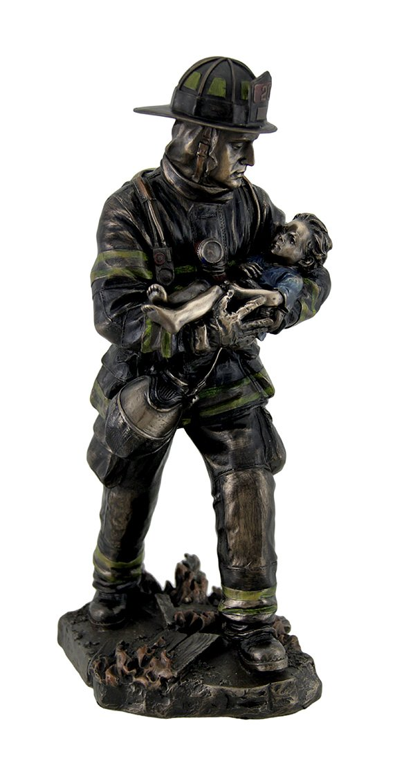 VERONESE Resin Statues Firefighter Carrying Child Metallic Bronze Statue 11 Inches Tall 5 X 11 X 4.5 Inches Bronze