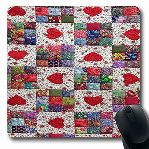 Ahawoso Mousepads Shabby Heart Patchwork Quilt Floral Summer Pattern Abstract Plaid American Boho Calico Chintz Design Oblong Shape 7.9 x 9.5 Inches Non-Slip Gaming Mouse Pad Rubber Oblong Mat