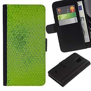 WINCASE (No Para S5) Cuadro Funda Voltear Cuero Ranura Tarjetas TPU Carcasas Protectora Cover Case Para Samsung Galaxy S5 Mini, SM-G800 - escalas planta modelo verde