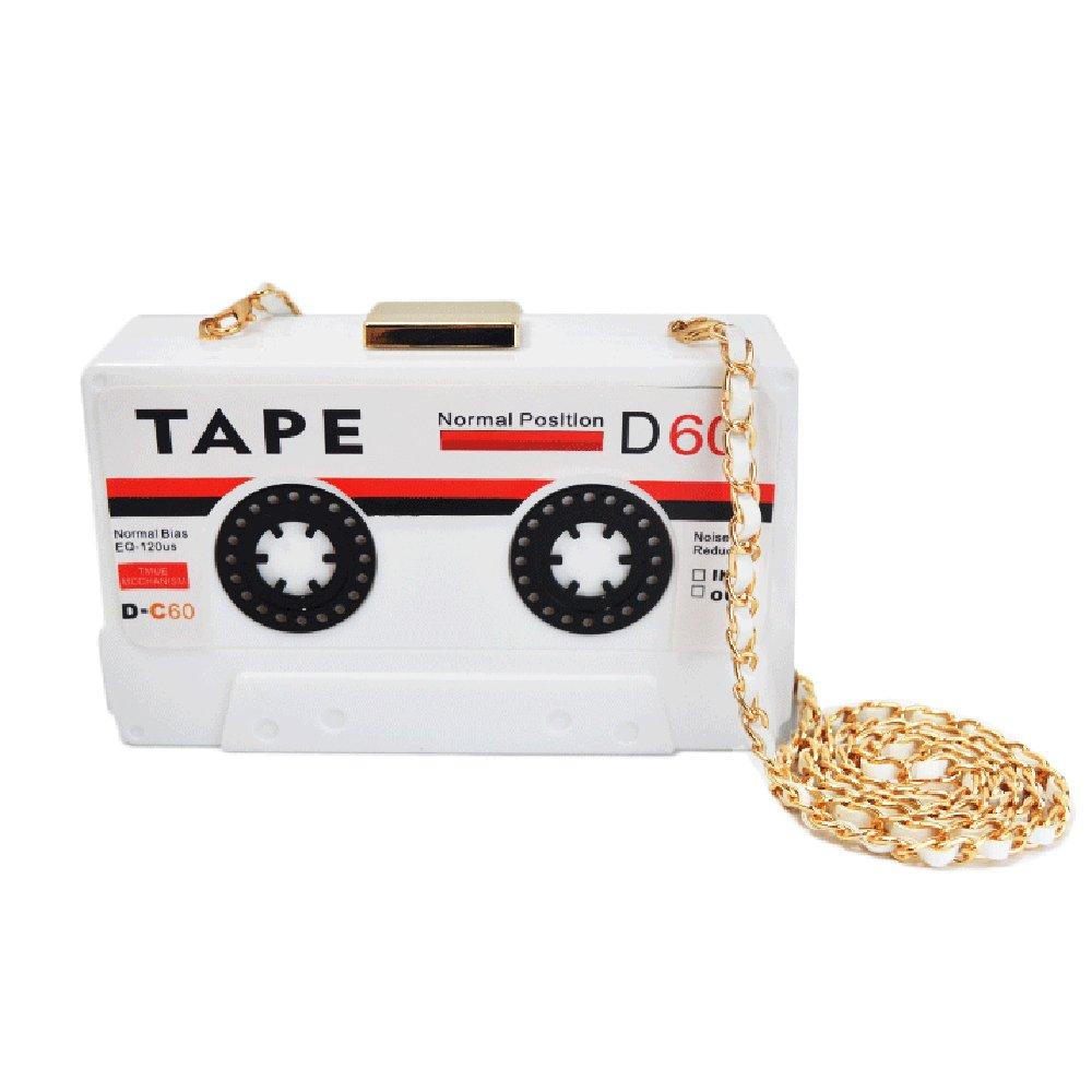 QZUnique Women's Elegant Tape Shaped Shoulder Bag Vintage Style Clutch Handbag White