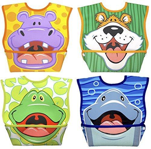 Dex Baby Dura-bib Big Mouth- 4 Pack (Hippo, Tiger, Frog, ()