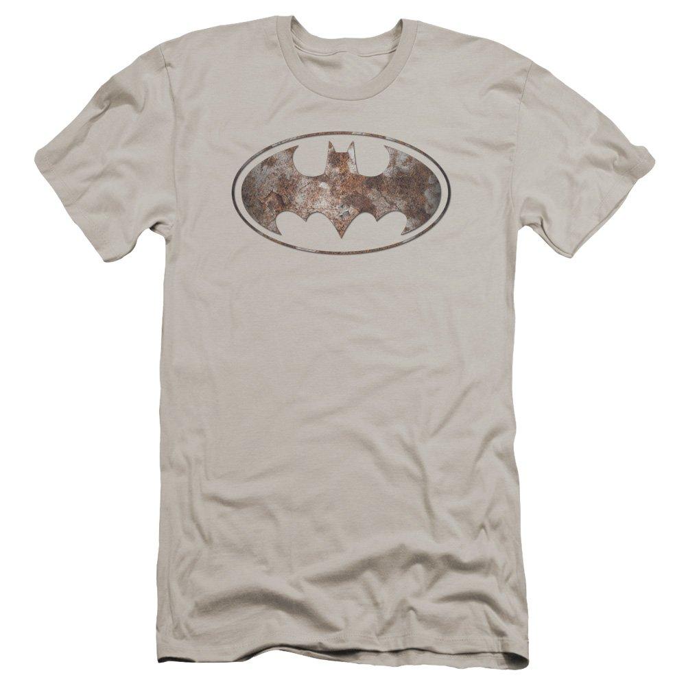 Batman Heavy Rust Logo Premium Adult Slim Fit T-Shirt