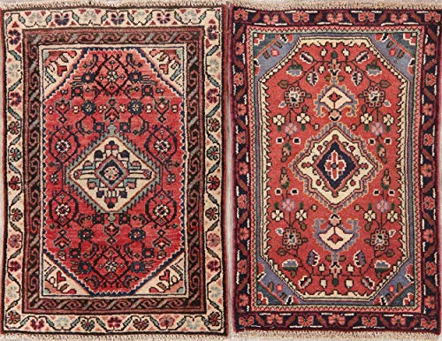 (Hamadan Persian Area Rug Handmade Oriental Floral Vintage Wool 2x2 Foyer Carpet)