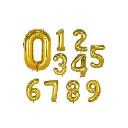 Archiba 1 Globo de Aluminio con números Dorados de 40 ...