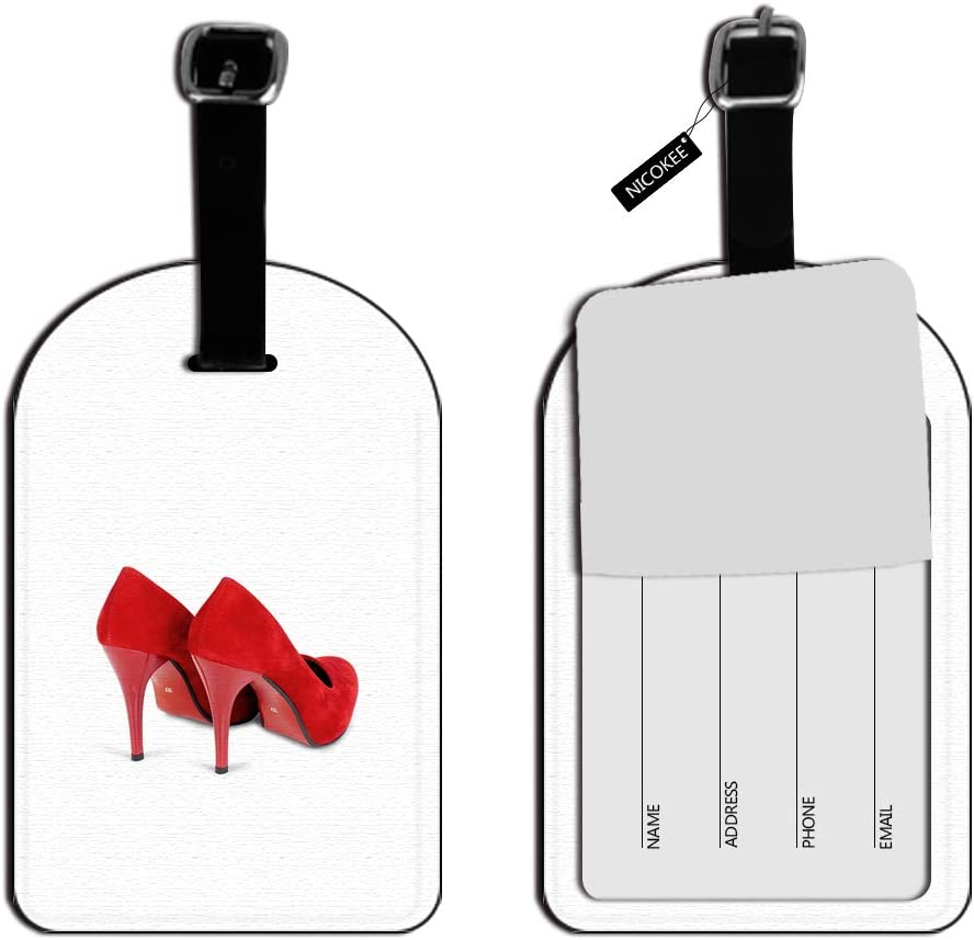 Nicokee Red Shoes Heels Pumps Leather Luggage ID Tag Suitcase Carry-On Luggage Tag Travel Bag Labels Luggage ID Tags