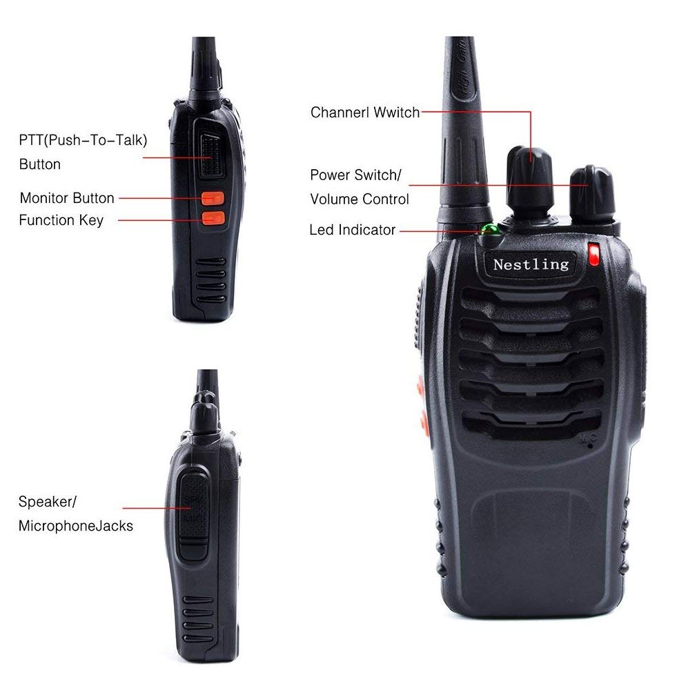 Built in Led Torch for Camping Hiking Travelling(4 in pack) Built in Led Torch for Camping Hiking Travelling/(4 in pack/) Signal Band UHF400-470 MHz 16 Channels Two Way Radios with Earpieces Nestling 888s Rechargeable Walkie Talkies