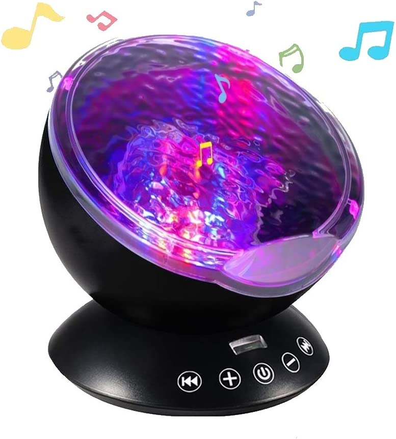 Lightahead Ocean Wave Projector Night Lamp with Music Player,4 Built in Nature Sounds 12 LED,Remote Control Undersea Projector Lamp with 7 Color Changing Lighting Modes (Black)