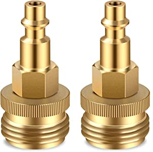"2 PCS Winterize Blow Out Plug with 1/4"" Male Air Quick Connect Plug and 3/4"" male Garden Hose Threading, Brass Blowout Adapter Quick Fitting for RV/Camper/Boat/Travel Trailer Water Lines Winterizing"