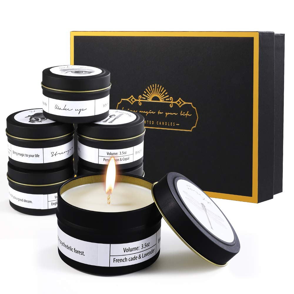 Priksia Scented Candles Gift Set, Natural Soy Wax 3.5 Oz Unit Portable Jar Candles Women Gift with Fragrance Essential Oils for Stress Relief and Aromatherapy- 6 Pack by Priksia