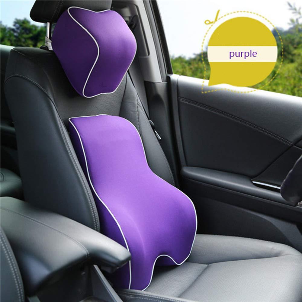 DS- マッサージマット カーメモリコットン腰クッションセットウエストパッドヘッドピローシート車内車バックパッド夏通気性四季 && (色 : Gray) B07LF8V2LN Purple  Purple