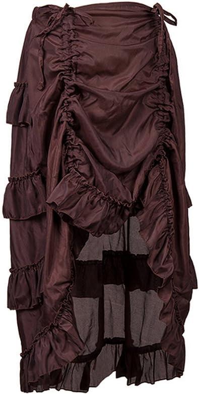 Aiuem Falda Estilo Victoriana con Volantes Steampunk Falda Vintage ...