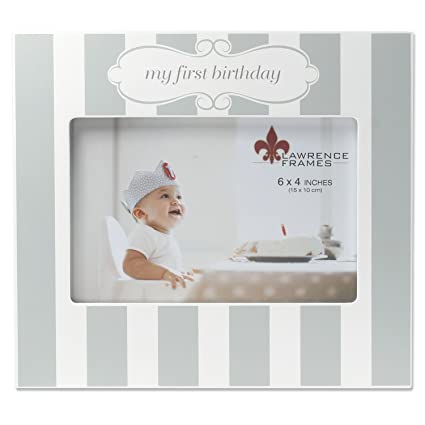 Amazon.com: Lawrence Frames My First Birthday Gray and White Frame ...